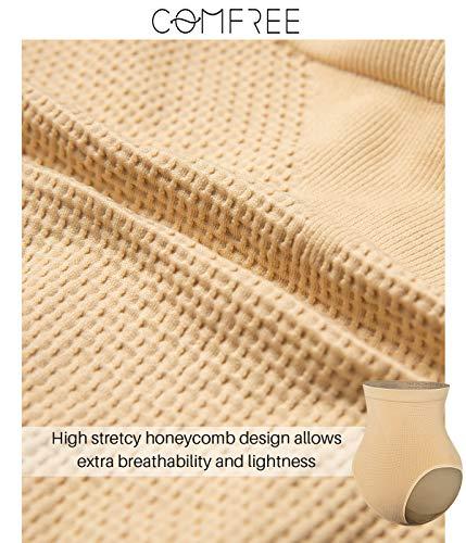 COMFREE Bauchweg Unterhose Shaping Unterwäsche Miederslip Figurformende Miederhose Butt Lifter Beige S M - 4