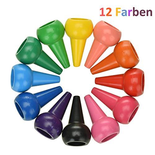 Wachsmalstifte, 12 Farben Handflächengriff Kinder Malstifte, Finger Zeichenstift,100% Natürlich Sicherheit und Ungiftig Stapelbares Spielzeug Malstifte für Kinder ab 1 Jahr ()