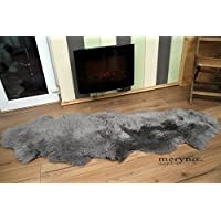 Meryno - Grey double sheepskin rug genuine amazing soft wool - Grey, large