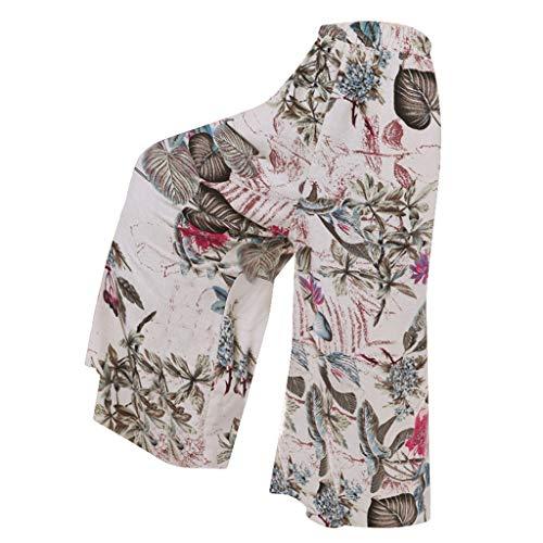 Silber Baggy Shorts (OYSOHE Plus Size Hosen Damen Vintage Blumen Print Weite Beinhosen Baumwolle Leinen Hohe Taille Baggy Lange Hose Schlaghose(Rot,XXXXX-Large))