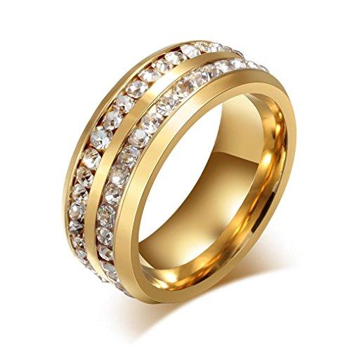 FEITONG Verlobungsringe Edelstein für Damen und Männer, Titan Stahl Ringe Strass Ringe Edelstahl Schmuck (#10, Gold) (Männer Diamant-hochzeit Band-größe 13)