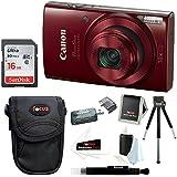 Canon PowerShot ELPH 190 IS 20 MP Digital Point & Power Shoot Digital Camera Bundle (Red) + Sony 16GB Memory Card