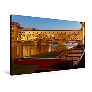 Premium Textil-Leinwand 75 x 50 cm Quer-Format Florenz - Die Ponte Vecchio ist eine Segmentbogenbruecke.   Wandbild, HD-Bild auf Keilrahmen, Fertigbild auf hochwertigem Vlies, Leinwanddruck von Andreas Riedmiller