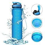 Acelec Water Bottle Sport Water Bottle (1L/ 36oz) Leak Proof BPA Free Reusable Eco-Friendly Easy Carrying Sports Drink Bottle For Camping, Hiking, Biking, Traveling Large Running Water Bottle (Frosted Blue 1000ml)