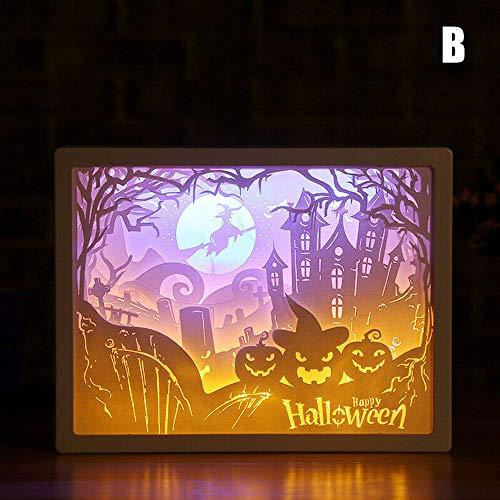 Leichte 3D Nacht Lampe Papier Muster Malerei LED Tisch Schreibtisch Farbe Shadow Box Frame, Silhouette Papier schnitzen Lichter Nacht&Tisch Lampen, Papercut Leuchtkästen, dimmbare Dekoration Geschenk -