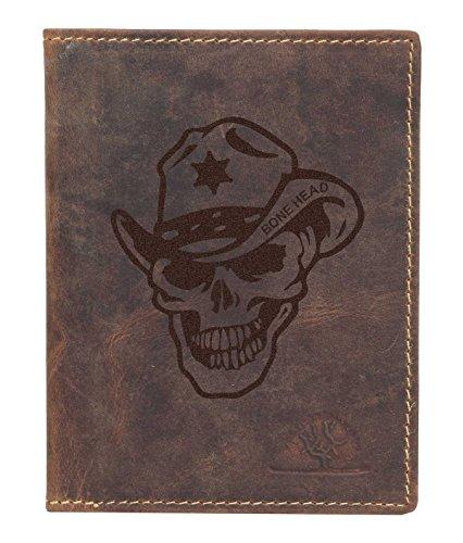 Greenburry Vintage Bone Head BH03 Leder Kartenmappe braun