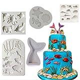 Moule en silicone pour décoration de gâteau en forme de coquillage, hippocampe, poisson, pieuvre, étoile de mer, queue de sirène, chocolat, biscuits, savon, bonbons
