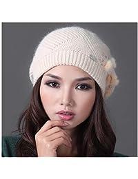 LIXUE Cálido Sombrero Mujer Invierno Cálido Gorro de Lana de Punto Orejera  de Orejeras Gorro de a65f2afb47d