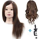 Testa di manichino professionale da donna, con capelli umani al 100%, da 45,7 cm, testa di manichino per prove di colorazioni permanenti e acconciature, testa di bambola con morsetto da tavolo ...