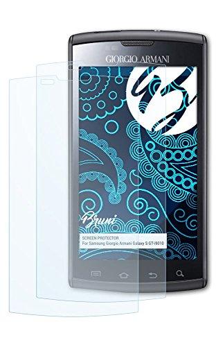 Bruni Samsung Giorgio Armani Galaxy S (GT-i9010) Folie - 2 x glasklare Displayschutzfolie Schutzfolie für Samsung Giorgio Armani Galaxy S (GT-i9010)