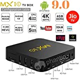 Android 9.0 PHANTIO MX10 4K Smart TV Box :Jio TV Hotstar Rockchip RK3328 Quad-core Mali-450MP4 GPU VP9 H.265 HDR10 USB3.0 4GB / 32GB DLNA Miracast WiFi LAN HD Netflix Prime Video & More