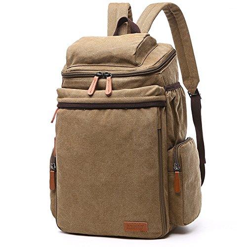 Gendi Gute Qualität Leinentasche Schulter Laptop-Tasche Schultertasche Freizeit Tourismus Multifunktions-Paket (dunkelblau ) Khaki