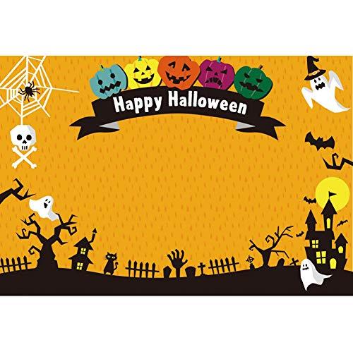 OERJU 3x2m Halloween Hintergrund Fröhliches Halloween Bunter Kürbis Fotografie Geist Spinne Schloss Hintergrund Süßes oder Saures Halloween Party Dekoration Porträt Requisiten