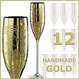 Eisch Champagne Gold Verre à champagne Exclusif–Lot de 12–Eisch verre à champagne 180ml–Or–Champagne Glasses Eisch Champagne exclusivement dans un coffret cadeau–Flûtes à Champagne