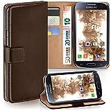 moex Samsung Galaxy S4 | Hülle Dunkel-Braun mit Karten-Fach 360° Book Klapp-Hülle Handytasche Kunst-Leder Handyhülle für Samsung Galaxy S4 / S IV Case Flip Cover Schutzhülle Tasche