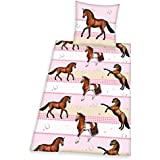 Herding 4657036050 Young Collection Parure de Lit pour Enfant avec Imprimé Cheval en Flanelle Multicolore 135 x 200 cm