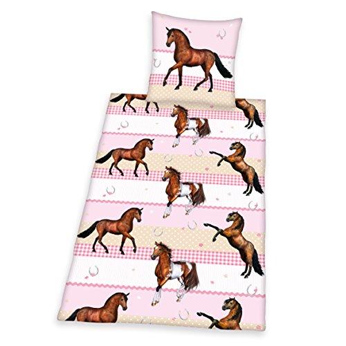Herding 445736050 Bettwäsche Young Collection Pferde, Kopfkissenbezug: 80 x 80 cm und Bettbezug: 135 x 200 cm, 100% Baumwolle, Renforce