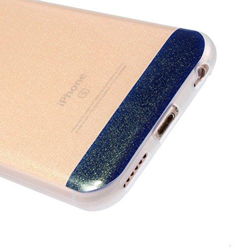 """iPhone 6 Glitzer Hülle 4.7 """", iPhone 6S Bling Bling Hülle Gold, Schick Luxus Shiny Glanz Sparkle Ultra Dünn Transparent Durchsichtig Klar Crystal Kristall Weiches Bumper Gel TPU Silikon Gummi Tasche K DarkBlue"""