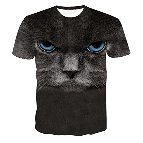 Herren Shirts,Frashing Herren Sporthemd Crew Neck Oversize Herren Vintage Rundhals T-Shirt Unisex Print Schmale Passform T Shirts mit Karikatur Katze 3D Druckmuster (L, Schwarz) (Crew Vintage Shorts)