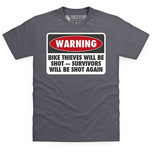 Bike Thieves Will Be Shot T-Shirt, Herren Anthrazit