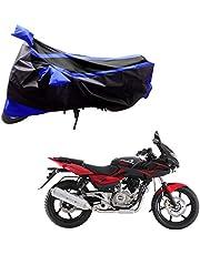 Adroitz Bike Body Cover for Bajaj Pulsar 220 DTS-i with Double Stripe in Black