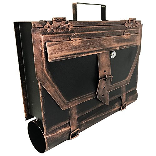 Mojawo Wandbriefkasten Briefkasten Postkasten Zeitungsrolle Zeitungsfach Post Wandmontage Kupfer Antik-Look H37xB41xT9cm