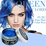 Ularma Haarfarbe Wachs Einweg Haar Creme Natürlich Frisur Wachs Haar Schlamm DIY Hair Wax Grannyhair (Blau)