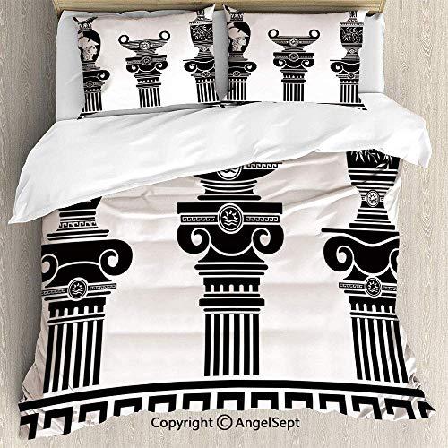 Soefipok 3-teiliges Bett-Set Bettbezug-Set, Set aus hellenischen Vasen und ionischen Säulen Künstlerisches Design Amphoren-Antike, Leichte Tagesdecke für Frühling und Sommer, Schwarz und Weiß