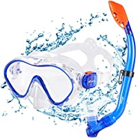 Kuyou Snorkel Set Kids,Dry Snorkeling Set Anti-Fog Snorkel Mask Impact Resistant Panoramic Tempered Glass Easy Breathing and for Youth Junior Girls,Boys