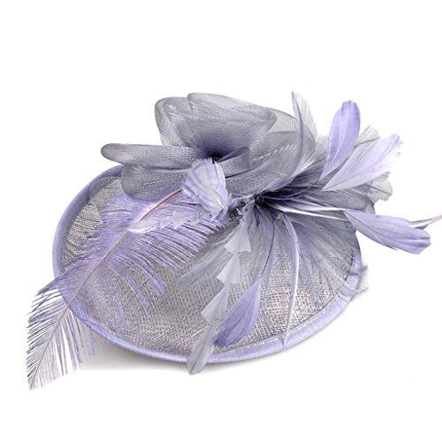 (Frauen Fascinator Stirnband Haarspange Haarnadel Hut Feder Cocktail Hochzeit Tea Party Hut Braut Kopfschmuck, Schöne Mädchen Kopfschmuck,E)