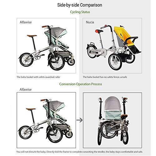 Imagen para Cochecitos de bebé Bicicleta 2 en 1 Caminata Triciclo Plegable Cochecito para Padres Padre/niño recreativo Bicicleta Plegable Pedicab para Madre y bebé Bicicleta Padre-Hijo,Pink