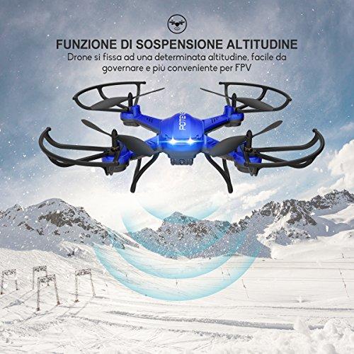 Potensic Drone con Fotocamera 720P HD Drone F181DH FPV LCD Monitore a Schermo con Funzione di Sospensione Altitudine, modalità Senza Testa, Allarme di Fuori Portata - 2