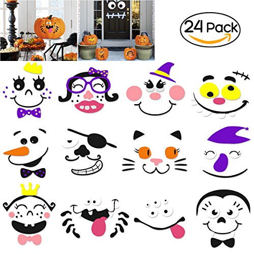 Kürbis Dekoration Schaum Aufkleber für Halloween und Party, 24 Sets in 2 Packs