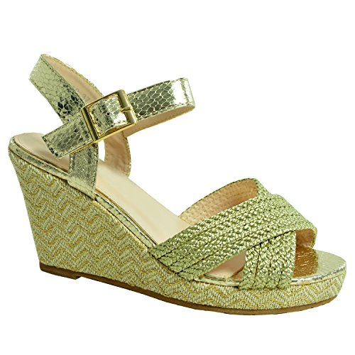 Cucu Fashion - Scarpe con plateau donna Gold