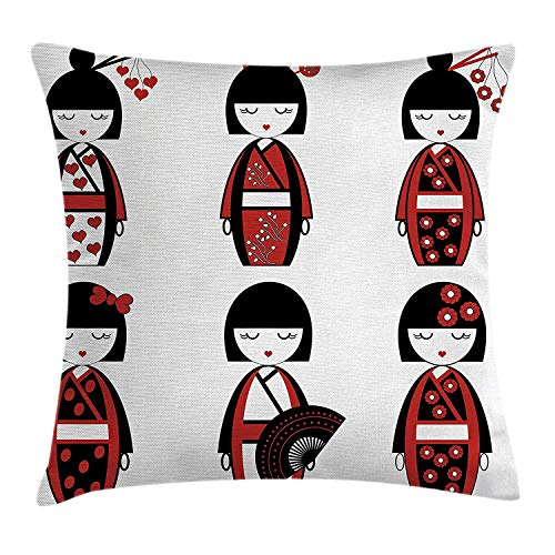Girly Decor Throw Pillow Cushion Cover, Asian Geisha Dolls in Folkloric Costume Outfits and Hair Sticks Kimono Art Image, Decorative Square Accent Pillow Case, 18 X 18 inches, Black (Glow Stick Outfit)