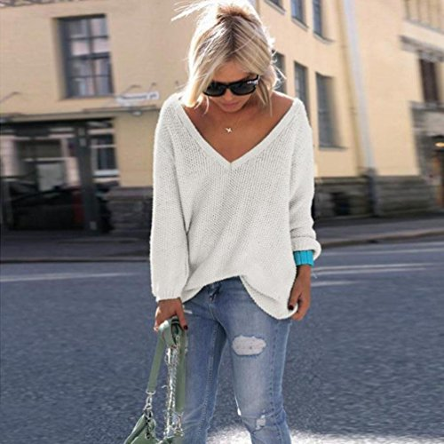 YouPue Damen Loose Strick Pullover V-Ausschnit Langarm Oversized Tunika Sweatshirt Langarmshirt Tops Weiß