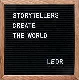 LEDR® - Letter Board – Tableau d'affichage feutre noir, bois de chêne | 290 lettres, chiffres, symboles blancs, 30 x 30 x 2 cm, design retro, Black