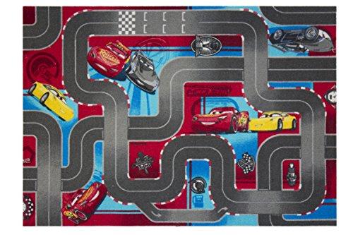 Cars 640019tappeto da pavimento, in velluto, colore: rosso/grigio, dimensioni: 133x 95x 1,5cm