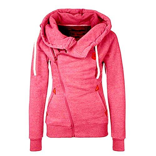 Newbestyle Frühling Herbst Sweatshirt Damen Übergangsjacke mit Schrägem Reißverschluss und Kapuzen (XL (Brustumfang 104cm), Rosarot-2)