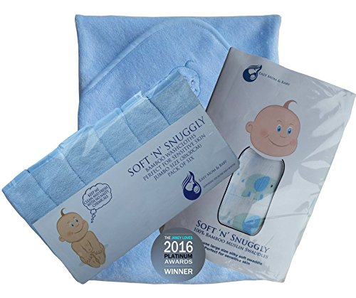 Bambou bébé Bain Bundle 3 pièces serviette de bain à capuche, gants de toilette et mousseline Swadle
