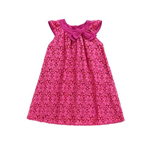 ALLAIBB Kleines Mädchen Blume Sommerkleid Rose Pink Jacquard Zelt Princess Dress 2-6Jahren Size 110 (stieg rot) -