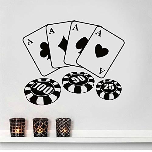 Moderne Dekoration Design Poker Chips Karten Muster Wandtattoo Spiel Casino Vinyl Aufkleber Kunst Dekor Wandbild Tapete 68X57Cm