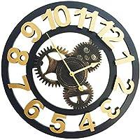 Luminoso Silencioso Ronda Creativa Mute Retro Gear Reloj de Pared Digital árabe Industrial Wind Decoration Sala