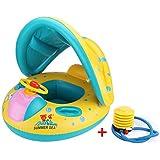 Vercrown Flotador para Bebé con Asiento y Techo Juguete de Piscina de Desarrollo de Nata Natación en Agua Con sombrilla y bomba
