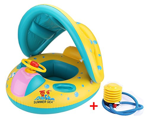 Preisvergleich Produktbild Vercrown Kinderboot Schwimmenauto Schwimmring mit Sitz Schwimmhilfen mit Sonnendach Ring anbei Luftpumpe mühelos Aufblasbares Kinderboot Geeignet für Kinder von 6-36 Monate Gewicht unter 20kg
