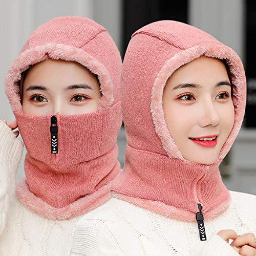 TAYIBO Unisex Wintermütze Warme,Herbst und Winter Gehörschutz warme Radsport Wollmütze, Plus Samt gestrickte Kapuze-rosa verdickt
