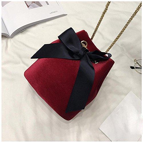 Longra Donna Sacchetto di spalla singolo della catena dell'arco della camicia Rosso