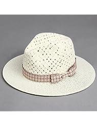 Las mujeres artesanales cono transpirable de ala ancha doseles plana Playa Sol sombrero de paja formal, beige