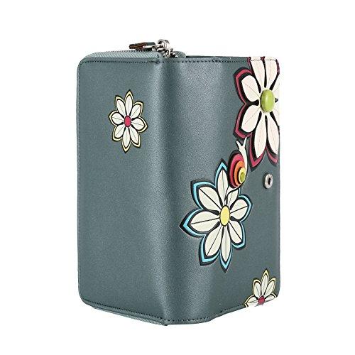 RFID borsa del portafoglio MENKAI disegno fiori Viola Nero 772F2 Balsam Green