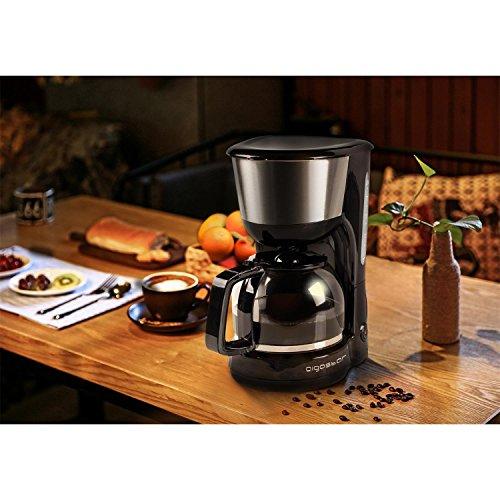 Aigostar Chocolate 30HIK – Máquina de café  cafetera de filtro color negro de 1000 Watios de potencia  con filtro reutilizable y función de mantener caliente. Capacidad de 1 25 litros y libre de BPA. Diseño exclusivo.